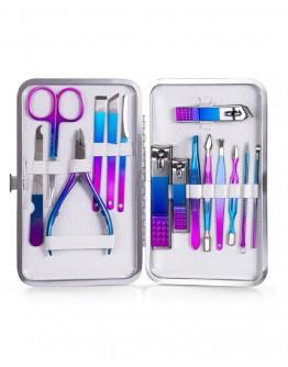 Manikiūro ir pedikiūro įrankių rinkinys, 15 vnt spalvotas