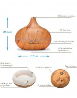 Kvapų Difuzorius Aroma 550ml medžio spalvos