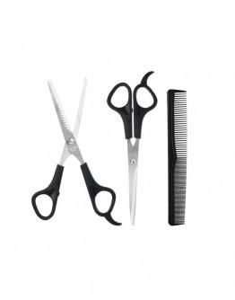 Plaukų kirpimo rinkinys: žirklės + šukos 3vnt.