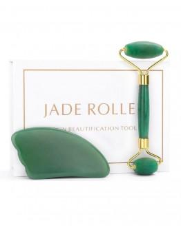 Veido masažuoklių rinkinys žalio Nefrito Jade